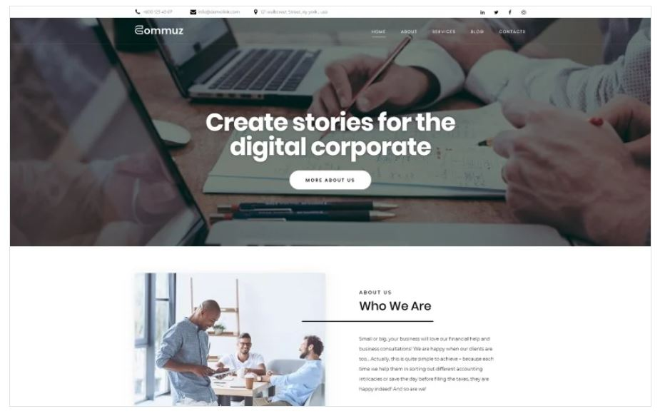 the Commuz business wordpress theme
