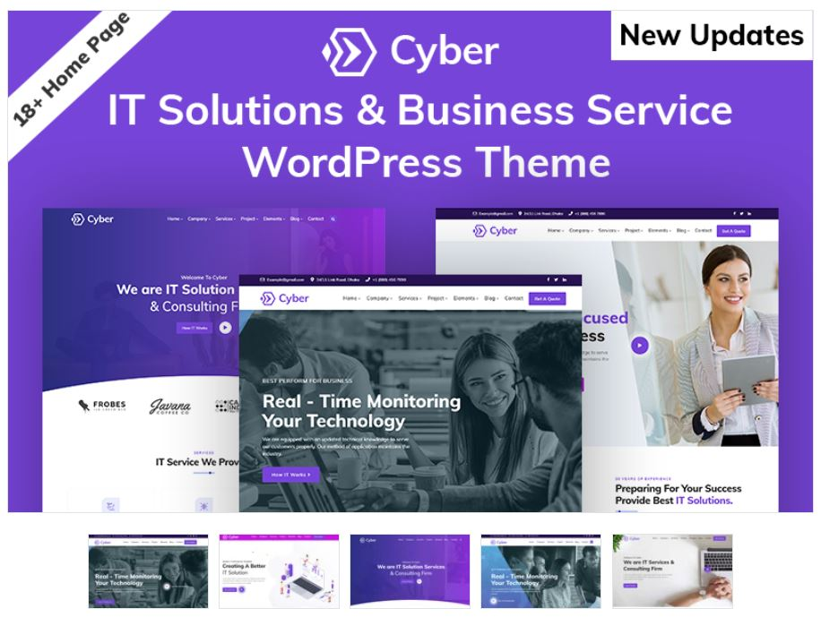 the Cyber business wordpress theme