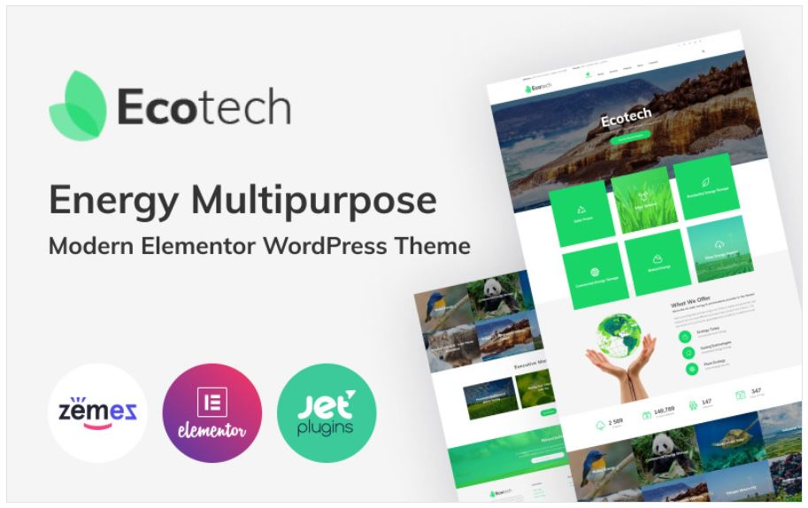 the Ecotech business wordpress theme