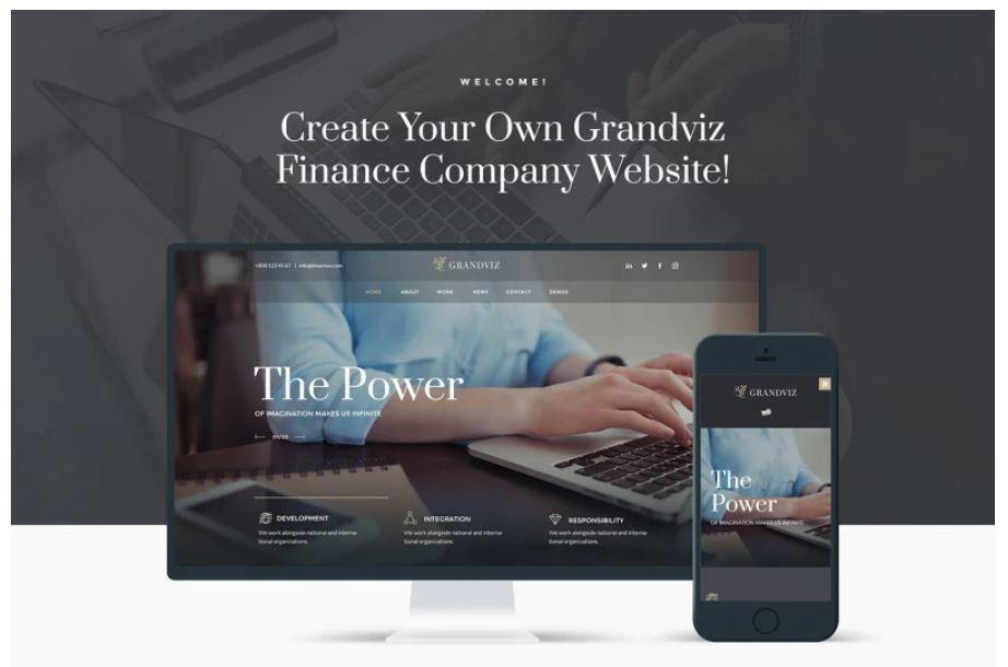 the Grandviz business wordpress theme