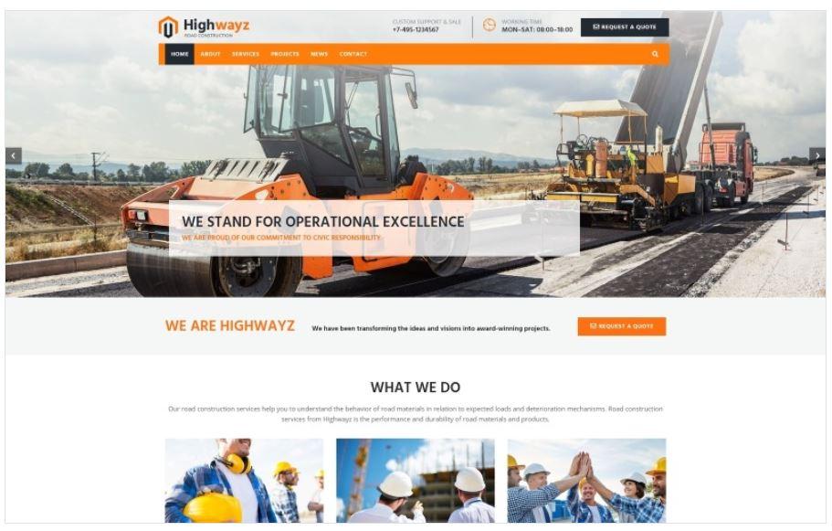 the highwayz business wordpress theme