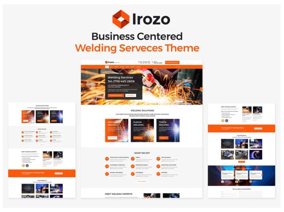 the Irozo welding service theme