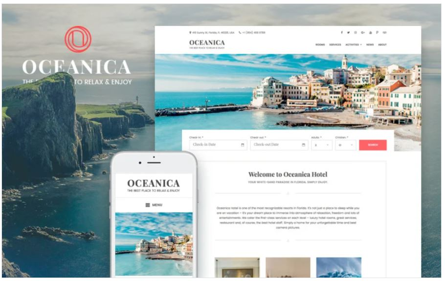 the Oceanica business wordpress theme