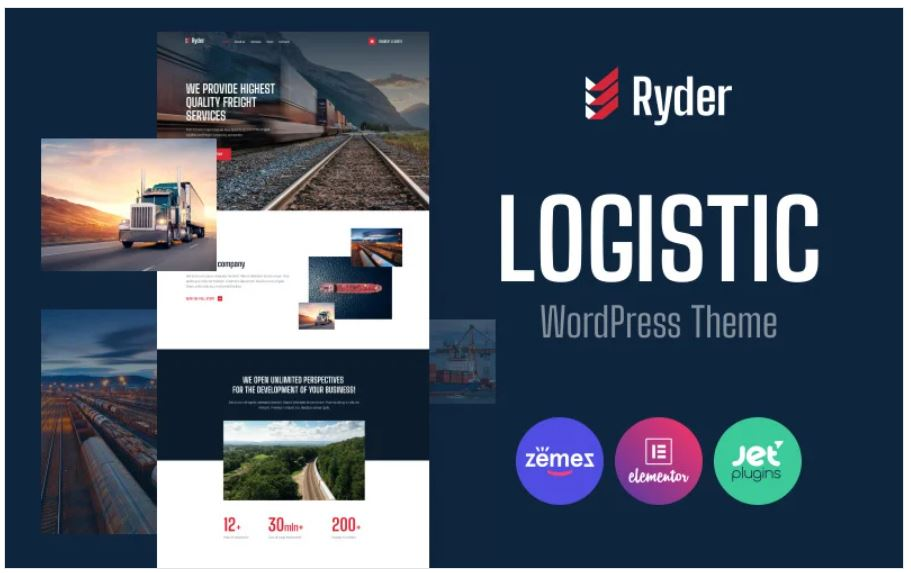 the Ryder Logistic business wordpress theme