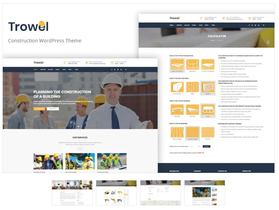 the Trowel business wordpress theme