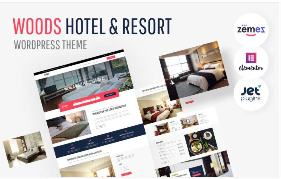 the Woods Hotel business wordpress theme